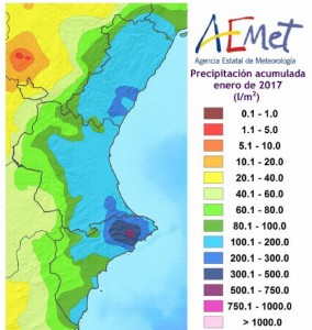 Neerslag in regio Valenciana in januari 2017 (bron: AEMET)