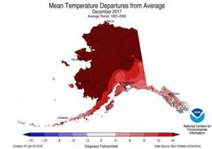 Temperatuurafwijkingen in Fahrenheit, december 2017, Alaska (bron: NOAA).