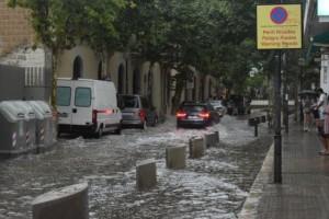 Wateroverlast Costa Dorada, vandaag 23 juli (bron: @meteo_garraf)
