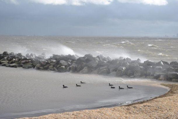 Ook bij de vuurtoren van marken gaat het flink tekeer, donderdag 23 februari (bron: Thijs Spijker).