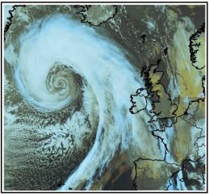 Zeer fraaie satellietfoto van de zeer diepe oceaandepressie (bron: Meteo France).