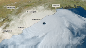 Fani boven de Golf van Bengalen (bron: The Weather Channel).