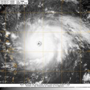 Satellietopname van Irma