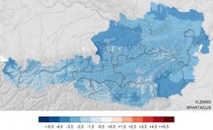 Overal was het in januari te koud in Oostenrijk (bron: ZAMG).