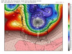 Polar Vortex boven Ontario, prognose GFS-weermodel voor 14 december (bron: Ryan Maue).
