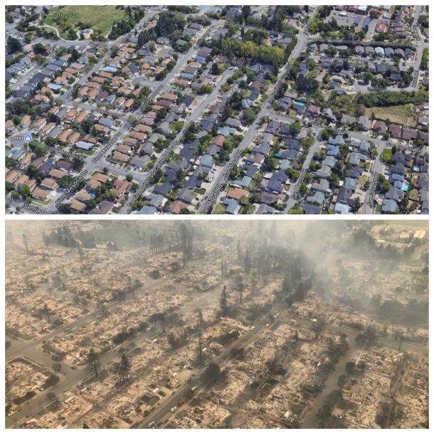 Santa Rosa voor en na de grote bosbrand, Tubbs Fire, 9 oktober (bron: Mike Seidel).