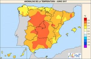 Temperatuurafwijkingen Spanje in juni 2017 (bron: AEMET)