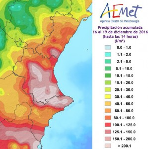 Distributie regenval in Valenciana van 16-19 december (bron: AEMET).