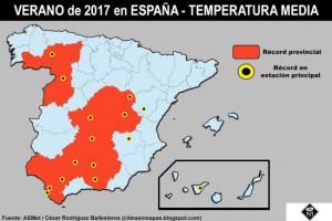 In de rode gebieden was de zomer recordwarm (bron: AEMET ea).