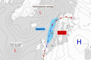 Luchtdrukverdeling zondag 14 oktober (bron: Meteorologene).