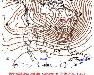 Polar Vortex boven Quebec, donderdag 15 december (bron: NOAA)