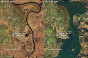 Zoek de verschillen! De linkersatellietfoto is van 20 maart 2018, de rechterfoto van 16 maart 2019. Het betreft hier het gebied in en rond Omaha (bron: NASA, Landsat).