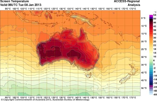 Maximumtemperaturen Australia, 8 januari 2013