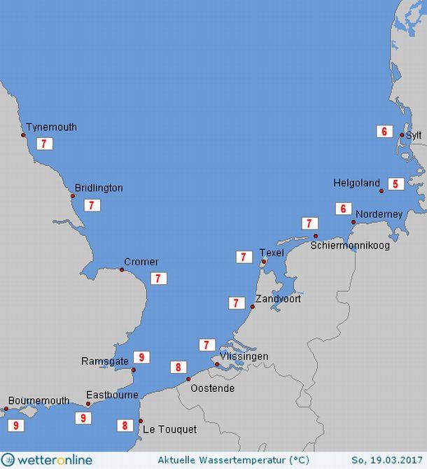 Zeewatertemperaturen kustwateren Noordzee, 19 maart 2017