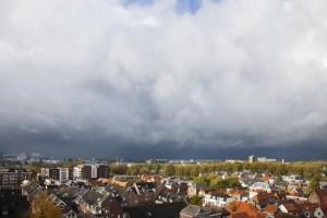 Passage buienlijn vanmiddag om 14 uur boven Gorinchem (bron: Bas 't Hoen).