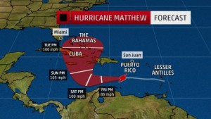 Track Matthew (bron: The Weather Channel).
